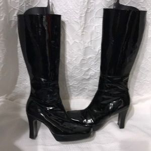 Beautiful Nine West Black Patent Leather Boots!!!